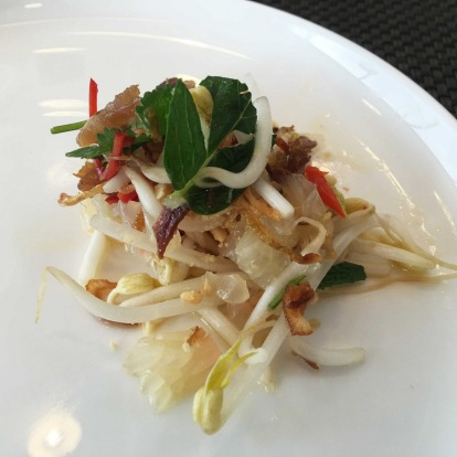 Sticky pork salad with shallots, beansprouts and pomelo: Tangy flavours of Southeast Asia.