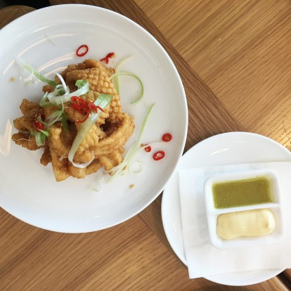 Qantas most wanted: Salt and pepper squid with green chilli dipping saice and aioli.