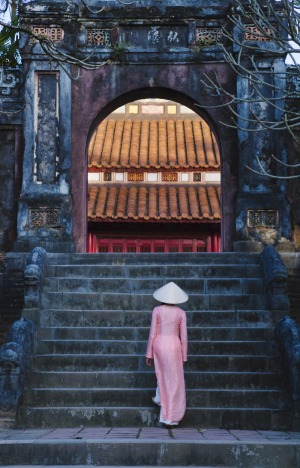 The Minh Mang Tomb is on the west bank of the Perfume River.