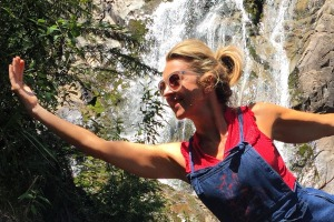 Author Sheriden Rhodes strikes a pose at Steavenson Falls.