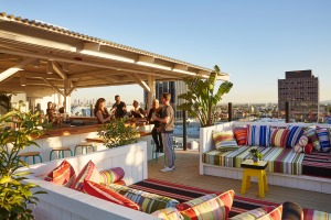 High-traffic area: Mama Shelter's rooftop bar is packed with locals and is an ideal place to mingle away from the ...