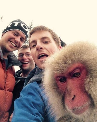 My friends are strange... selfies with Snow Monkies at Nagano, Japan.
