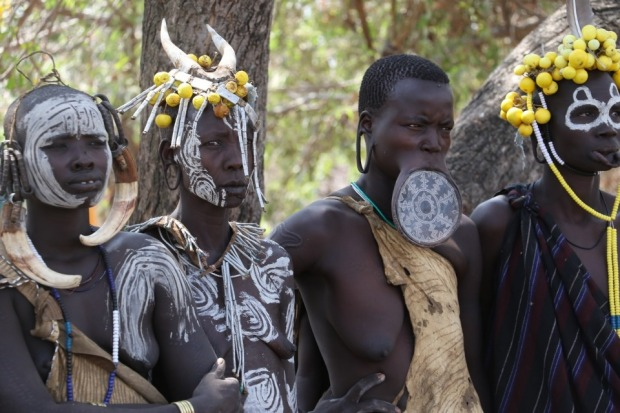 Some beautifully decorated ladies of the Mursi tribe of the Omo Valley in Ethiopia pose for the camera. A girl's lip is ...