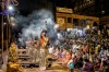A group of priests gather every evening on the banks of the River Ganges at Varanasi to perform the Agni Pooja which is ...