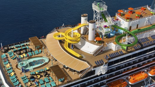 Carnival Legend's  Green Thunder  is the fastest and steepest waterslide at sea.