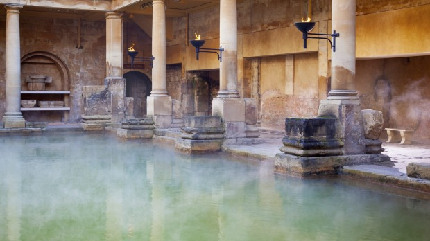 The city of Bath in England rewards visitors on a number of levels, including with its Roman Baths.