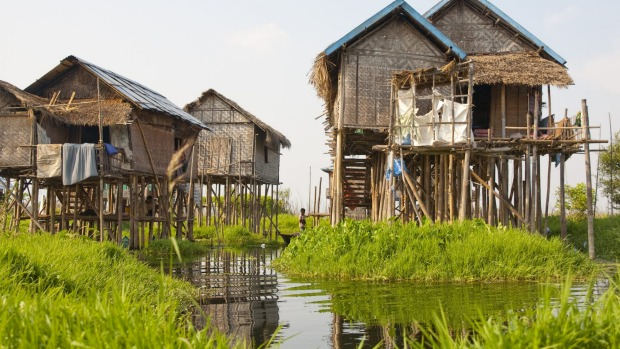 The stilt houses at Inle Lake, Myanmar.