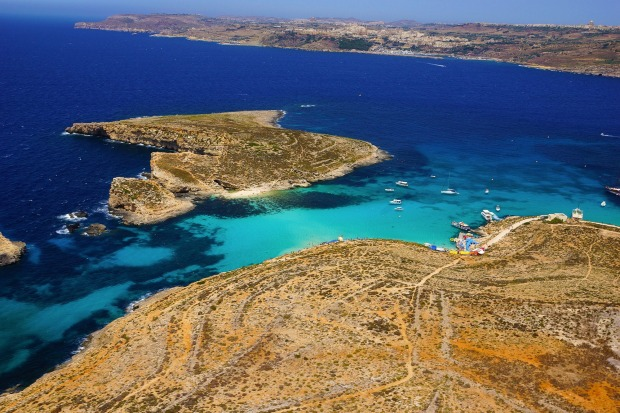 An aerial view of Blue Lagoon, Malta.