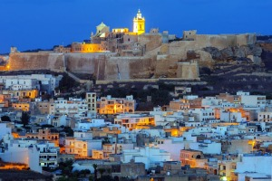The Cittadella in Victoria, Gozo, at night.