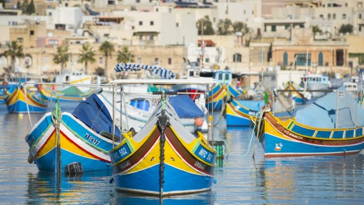 Fishing boats in Marsaxlokk harbour.
