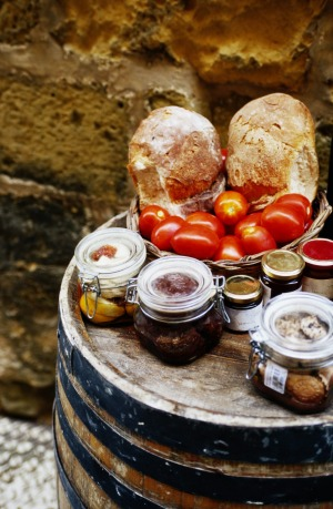 Bread, plum tomatoes and honey in Malta.