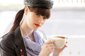 Model in French Cafe. EPICURE French Cover for Bastille Day & French themed Issue. Photographed by Marina Oliphant. ...