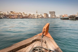 The view to Bur Dubai from a water taxi on the Dubai Creek.