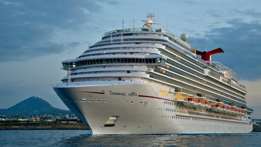 The Carnival Vista weighs 133,500 tons, stands 5 stories high and carries up to 3954 guests.