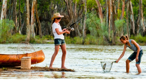 Drop a line: Fishing on the mighty Murray.