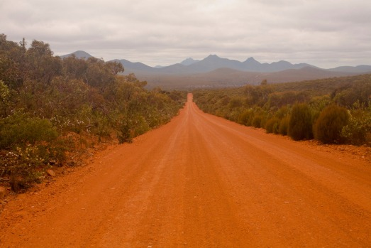 Red road through Stirling Range National Park, Albany, Western Australia.