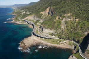 BBJ7E8 Sea Cliff Bridge near Wollongong south of Sydney New South Wales Australia aerial