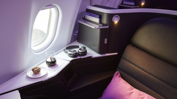 The business class seat on board Virgin's A330.