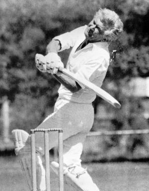 Bob Hawke hit by a cricket ball.