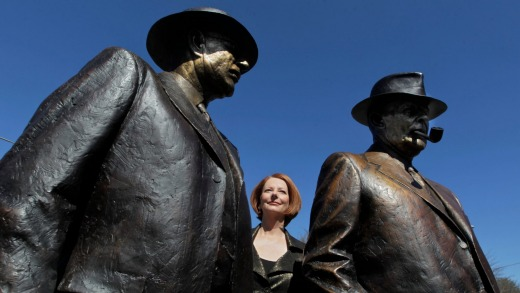 Former PM Julia Gillard with the statue.