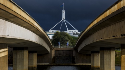 Parliament House from Commonwealth Avenue Bridge.