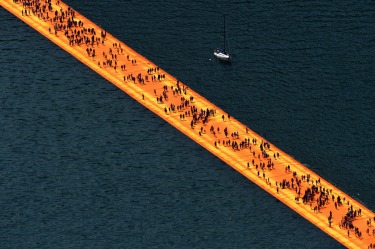 'The Floating Piers' by Bulgarian-born artist Christo Vladimirov Yavachev known as Christo, on the Lake Iseo, northern ...