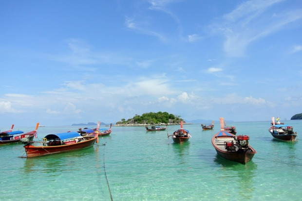 Boats in the pristine waters of Ko Lipe.