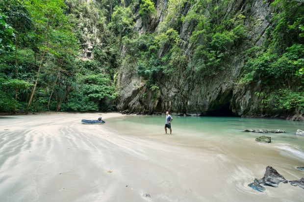 The hidden Emerald Cave (Tham Morakot) on Koh Mook.