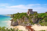Ruins of the Mayan fortress and temple near Tulum, Mexico along Playa del Carmen.