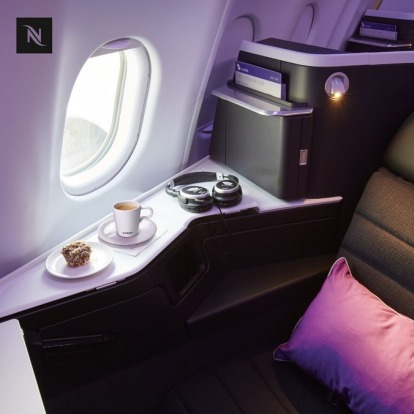 Virgin Australia's new Nespress coffee offering it a business class cabin.