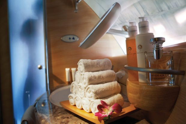 The shower spa on Emirates A380.