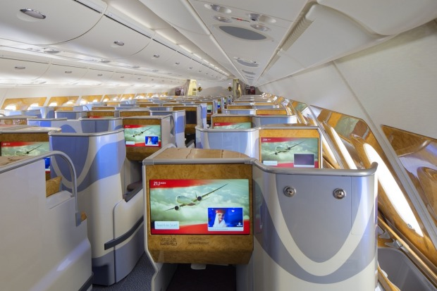 Emirates EK A380 business class.