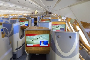 Business class on an Emirates A380.