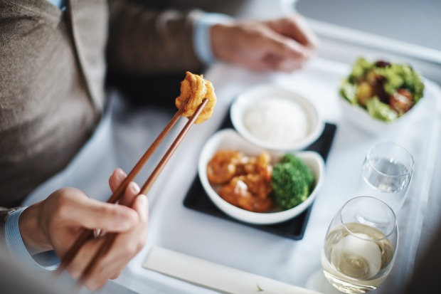 A business class meal on Cathay Pacific.