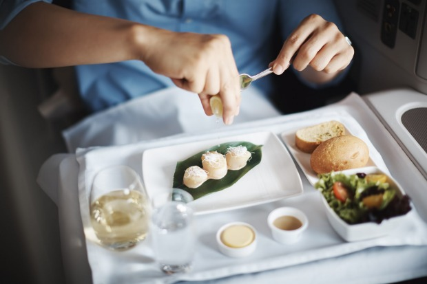 Cathay Pacific business class meal.