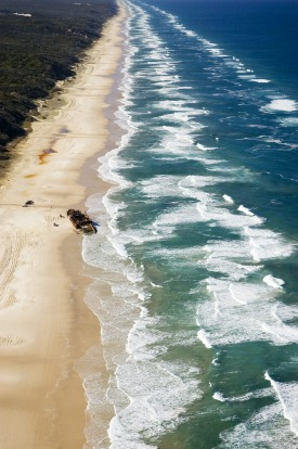 Aerial of the Maheno shipwreck on Seventy Mile Beach, Fraser Island, Queensland.