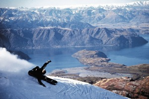 Snowboarding in New Zealand.
