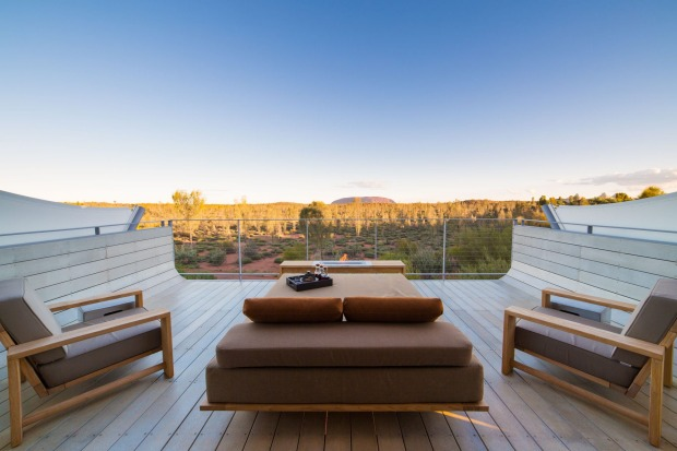 Admire Uluru from the comfort of your private deck at Longitude 131.