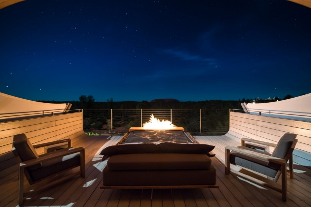 Even at night the view from your private deck at Longitude 131 doesn't disappoint.