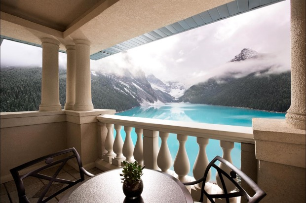 The view from the balcony of the Belvedere Suite Fairmont Lake Louise.