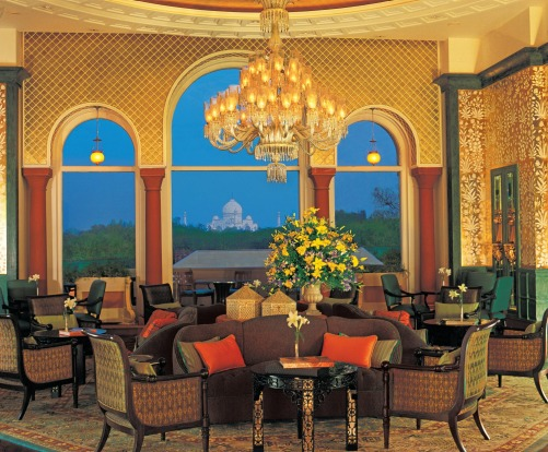 The Tea Lounge like just about everything else at The Oberoi Amarvilas Agra overlooks the Taj Mahal.