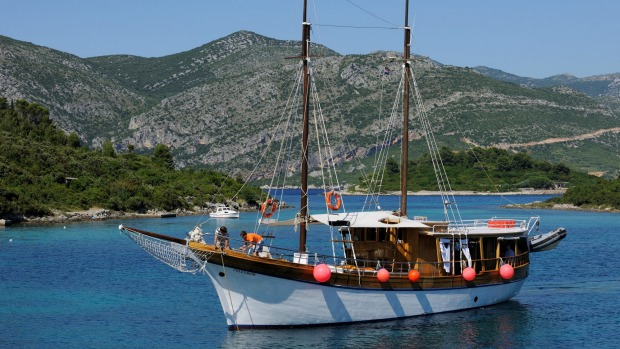 Gulet (private charter sailing vessel) on the Dalmation Coast.