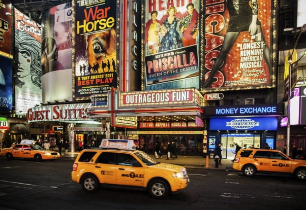 Broadway theatres in Times Square New York City.