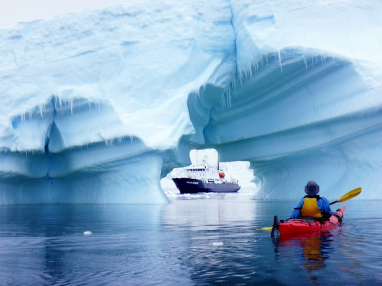 Kayaking in Antarctica with Aurora Expeditions.