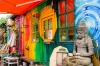 Colourful house with decorations and garden ornaments in Freetown Christiana, Copenhagen.