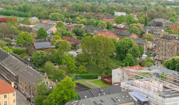 Aerial view of Christiana district in Copenhagen.