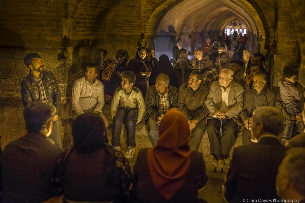 Every night after work and before dinner, locals would congregate at the Khaju Bridge in Isfahan. Friends and family ...