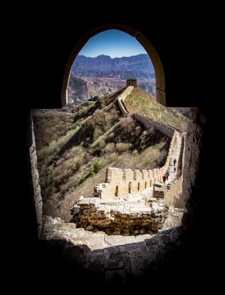 One the many great view you get when walking the Great Wall of China. This view is from one of the Towers looking out ...
