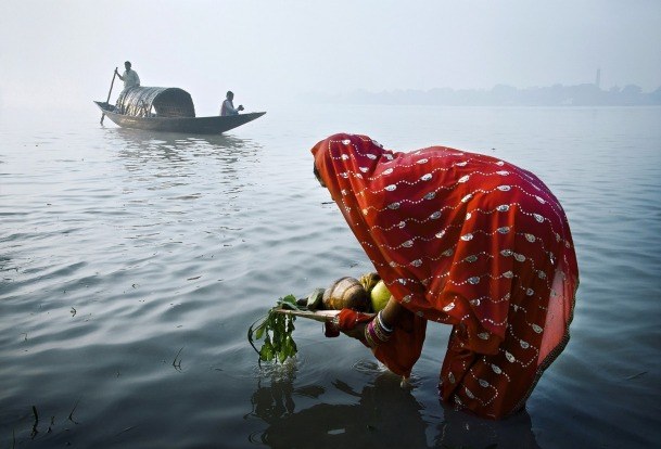 Morning prayer in river Ganga during CHHAT festival in Northern India.