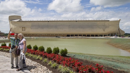 There's no age limit for selfies: Visitors take a selfie as a replica Noah's Ark stands in the distance at the Ark ...